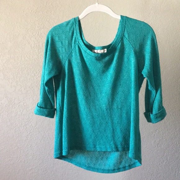 Chloe K Tops - Green Turquoise Knitted Elbow Length Sleeve Shirt